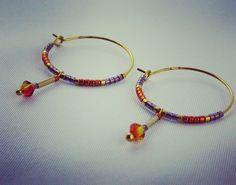 Boucles d'oreilles TORI Doré, orange et violet : Boucles d'oreille par my-paulette-is-rich