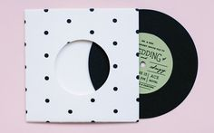Modern Wedding invitation - Polka Dot Record with Sleeve Invite