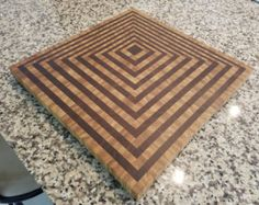 End Grain Cutting Board Oak Walnut Maple by OurFamilyOfEight
