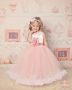 """Gorgeous flower girl tutu dress in blush pink and white - any color combination is available. Couture flower girl tutu dress made specifically to your flower girl. Most popular design of 2013. """"Jillian"""" tutu dress in blush pink and white"""