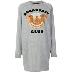 Jeremy Scott breakfast club sweatshirt dress ($241) ❤ liked on Polyvore featuring dresses, grey, jeremy scott, grey dress, jeremy scott dress, grey sweatshirt dress and sweatshirt dress