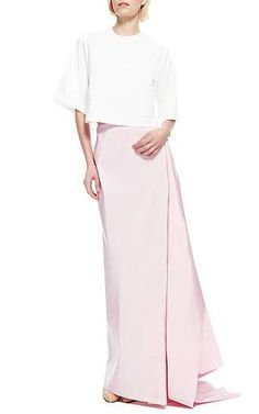 Silk-Faille Draped-Back Maxi Skirt by Rosie Assoulin
