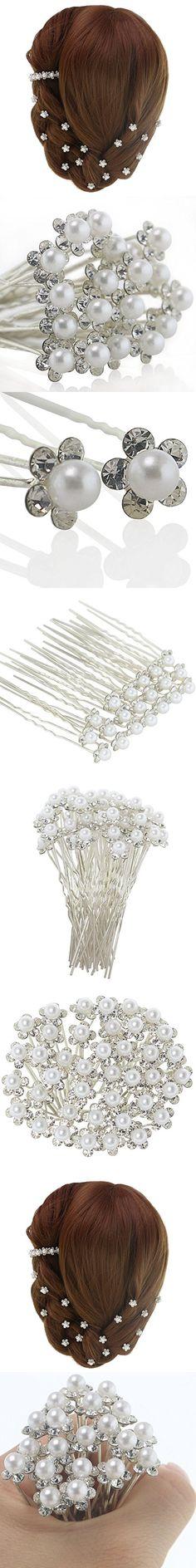 QingHan Pearl Crystal Rhinestone Hair Pins Vintage Wedding Bridal Artificial Flower Clips Bridesmaid Jewelry Pack Of 20