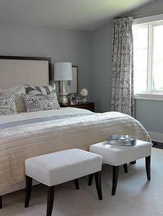 Sarah Richardson Design: Soft & serene blue and gray bedroom design with upholstered small benches! Bedroom Walls, Gray Bedroom, Master Bedroom Design, Home Bedroom, Bedroom Decor, Bedroom Ideas, Bedroom Inspiration, Bedroom Colors, Bedroom Benches