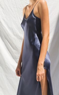 LONG NAVY SLIP DRESS WITH SLITS