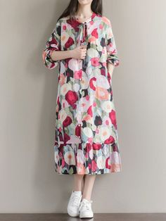 Casual Print Loose Tie Long Sleeve O-neck Maxi Dress For Women is high-quality, see other cheap summer dresses on NewChic. Modest Work Outfits, Modest Dresses, Casual Dresses, Dresses For Work, Midi Dresses, Linen Dresses, Cheap Summer Dresses, Summer Outfits Women, Mahira Khan Dresses