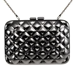 Zapals Designer Box Clutch Bag Rhombus Metallic Mirror Hard Case - Ebony. ZAPALS designer rhombus metallic mirror box clutch/ bag. Noble, trendy yet elegant. Detachable shoulder chain. Chic clasp closure. Cross-body bag/ box clutch. Perfect for both special and casual occasions! Such as party, wedding.