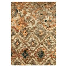 Artfully hand-knotted in India, this exotic jute rug showcases a distressed ikat diamond motif.   Product: RugConst...
