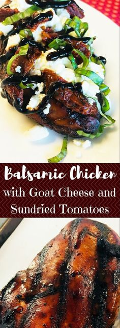 Tomato Recipes Marinated balsamic chicken topped with goat cheese and sundried tomatoes. - Balsamic Chicken with Goat Cheese and Sundried Tomatoes is such an easy dinner to make, the flavor combo is super delicious! Chicken And Goat Cheese Recipe, Goat Cheese Stuffed Chicken, Goat Cheese Pizza, Goat Cheese Recipes, Chicken Recipes, Turkey Recipes, Sundried Tomato Recipes, Sundried Tomato Chicken, Cooking Recipes