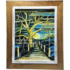 Peinture d'un paysage, de style Fauvisme, décoratif conçu par Lyne Thériault artiste pour DAS-Déco. Encadrement professionnel de bois. Simplicité, beauté et harmonie au rendez-vous, cadeau idéal.