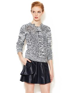 Cable Knit Crewneck Sweater by ICB at Gilt