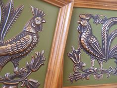 Pair of Framed Folk Art Roosters by Ideal Originals by lookonmytreasures on Etsy