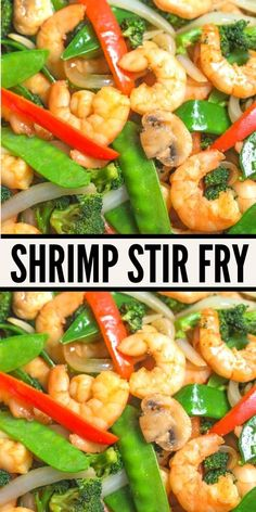 Shrimp Stir fry, easy healthy recipe. With tasty quick stir fry sauce, vegetables and shrimp. clean eating, gluten free. www.noshtastic.com Clean Eating Shrimp, Clean Eating Recipes For Dinner, Easy Dinner Recipes, Easy Meals, Shrimp Recipes, Fish Recipes, Vegetable Recipes, Gf Recipes, Asian Recipes