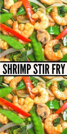 Shrimp Stir fry, easy healthy recipe. With tasty quick stir fry sauce, vegetables and shrimp. clean eating, gluten free. www.noshtastic.com
