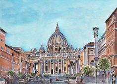 Renaissance Architecture, St Peters Basilica. Water color...