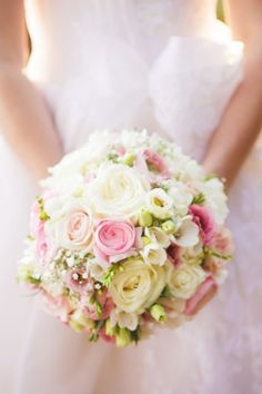 Soft pink and ivory wedding bouquet
