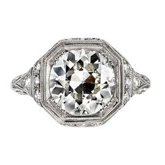Incredible 3.03ct Old European Cut Diamond Engagement Ring | From a unique collection of vintage engagement rings at https://www.1stdibs.com/jewelry/rings/engagement-rings/