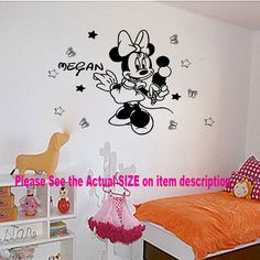 Disney Minnie Mouse Custom Name Girls Bedroom Kids vinyl decal Wall Stickers  Ice-cream, Nice wall sticker for your kids room.