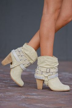 A Rhinestone In The Rough Booties - Cream