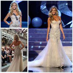 Free Shipping Renae Ayris 2012 Miss Universe Pageant Evening Dresses Court Train Tulle Mermaid Beading Rhinestone Prom Dresses