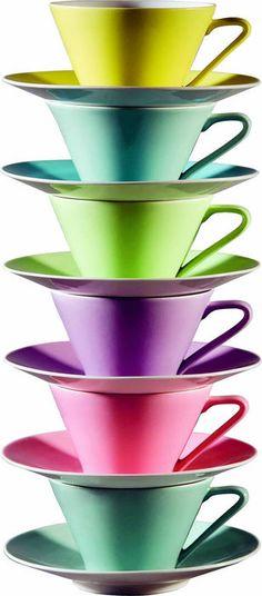 Lilien Porcelain: Daisy Coffee Cups, Tea Cups, Cute Kitchen, Tea Cup Saucer, Daisy, Clay, Rainbow, China, Magic