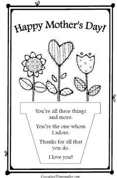 printable mothers day card - Printable Preschool Crafts