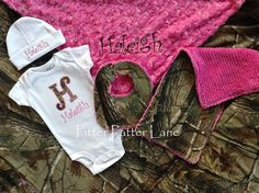 When I have kids...  Baby Girl Gift Set - Real Tree Camo - Personalized Onesie, Hat, Blanket with Dribbler Bib and Burp Cloth on Etsy, $80.00