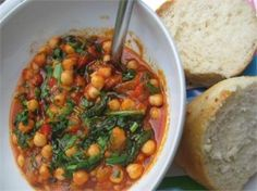 CHICKPEA, CHORIZO AND SPINACH STEW  Quick and easy to make using store cupboard basics. Serve with crusty bread as a main course.