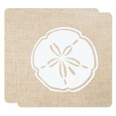 #Canvas and White Sand Dollar Wedding Card - #beach #wedding #invitations #weddinginvitations #card #cards #celebration #beautiful #summer #summerwedding #savethedate #island #heat #love