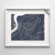 Derry Map, Ireland Print, Ireland Poster, Derry Art, Giclee Print, Dorm Decor, Dorm Decorations, Anniversary Gift, Christmas Gift, Wall Art. PRICES FROM $9.95. CLICK PHOTO FOR DETAILS.#inkistprints #map #streetmap #giftforher #homedecor #nursery #wallart #walldecor #poster #print #christmas #christmasgift #weddinggift #nurserydecor #mothersdaygift #fathersdaygift #babygift #valentinesdaygift #dorm #decor #livingroom #bedroom