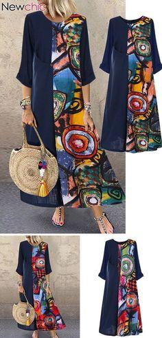 Print Patchwok Long Sleeve Plus Size Dress - Plus Size Casual Dresses - Ideas of. Mode Outfits, Fall Outfits, Casual Outfits, Shirt Diy, Dress Plus Size, Plus Size Casual, Casual Dresses Plus Size, Diy Clothes, Plus Size Women