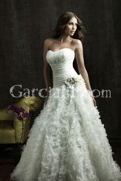 Trumpet/Mermaid Strapless Organza Ruched Floral Ruffle Wedding Dress