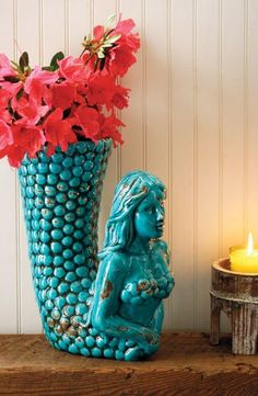Distressed turquoise mermaid vase-I would change the flowers