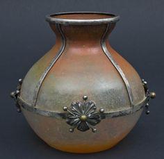 Jugendstil-Vase, Ancienne Maison Effller, Frankreich um 1920 birnenförmige Vase, dickwandiges durch — Jugendstil, Art Déco, WMF, Gallé, Daum, Lötz, Wien
