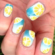 Vote for me if you like my lemon nails! THANKS! http://www.itssoeasynails.com/nailartvoting/index.php?photo=260 3d Nail Art, Cool Nail Art, Fruit Nail Art, Get Nails, Love Nails, Gorgeous Nails, Pretty Nails, Lemon Nails, Vacation Nails