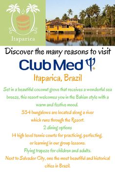 Club Med - Itaparica (Brazil) Book your next Club Med All-Inclusive getaway with Joe's Magical Moments Vacations. Contact jfeathersjr@gmail.com
