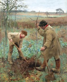 GEORGE CLAUSEN Planting A Tree Oil on Canvas 30″ x 25″