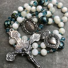 White Mother of Pearl Rosary Caribbean Blue Sterling Silver