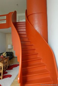 Staircase To . Interior Exterior, Interior Design, Stairs To Heaven, Balustrades, Take The Stairs, Stair Steps, Stairways, Orange Color, Windows