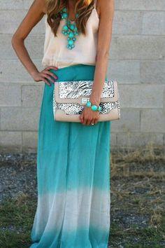 maxi-skirt-1, necklace, clutch