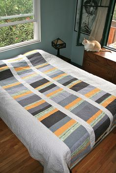 Gray & yellow quilt from Handmade by Alissa