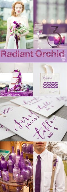 2014 Pantone color of the year wedding inspiration board - Radiant Orchid /  A Splendid Occasion, Chicago, IL