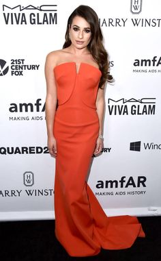 Lea Michele from The Best of the Red Carpet  Lea glows a in strapless tangerine Zac Posen ensemble at the amfAR Inspiration Gala.