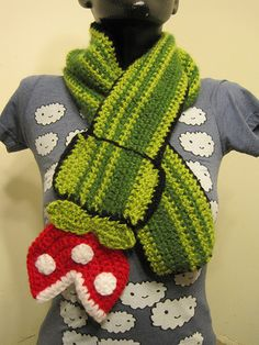 Piranha plant scarf - fromMario brothers.  I wish Gma would make the stuff I want!
