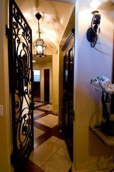Iron door, iron light fixture