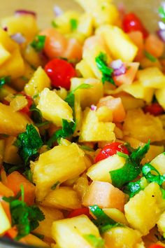 (Latin America) Pineapple mango salsa Not just salsa but a side dish a snack or an appetizer Healthy vegetarian gluten-free and vegan recipe full of fresh tropical fruit and veggies click now for more. Healthy Recipes, Fruit Recipes, Mexican Food Recipes, Appetizer Recipes, Healthy Snacks, Healthy Eating, Cooking Recipes, Pineapple Recipes, Pineapple Rice