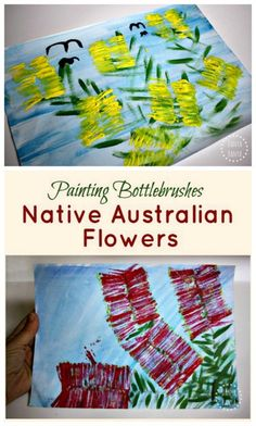 Bottlebrush art Australian native flower paintings for kids