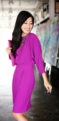 magenta <3 if you add a belt to this dress I think it would look even better.
