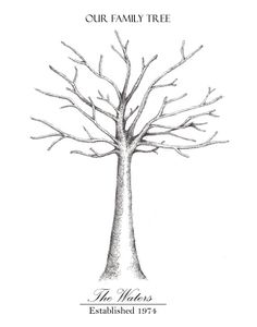 Family tree lesson plans large tree templates for designing a apple tree fingerprint guest book print wall by ptwatersdesigns pronofoot35fo Image collections