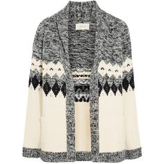 The Great Bonfire intarsia cotton-blend cardigan (1979290 PYG) ❤ liked on Polyvore featuring tops, cardigans, outerwear, sweaters, cardigan top, white open front cardigan, open front cardigan, summer tops and chunky cardigan